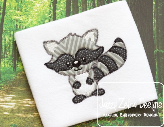 Raccoon 15 Appliqué embroidery design with Square Diagonal Stitching - raccoon appliqué design