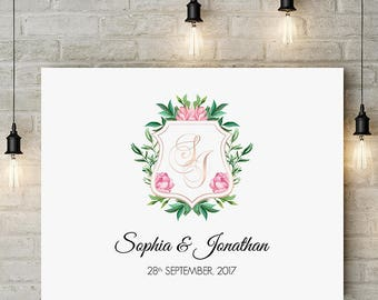 Watercolor monogram crest,Personalized engagement gifts,  Anniversary gifts for couples, Rose gold, Monogram wedding gift, Digital File