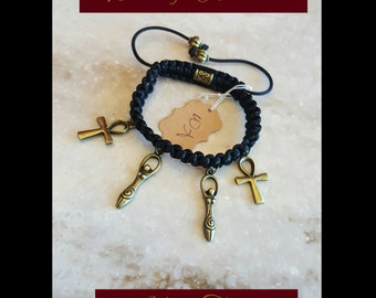 Ankh & Goddess Adjustable Bracelet