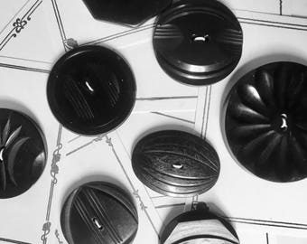 Big Vintage Black Buttons in Bakelite or Early Plastics for Knitting, Sewing and Collecting