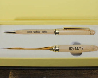 Pen and Letter Opener Set/Wood/Engraved/Valentine Gift/Gift for Him/Anniversary/5th/Wood Anniversary/Love you More