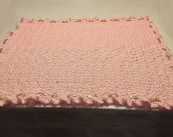 Baby Blanket crochetted with Bernat Softee Baby Yarn - Pick color and optional glitter ribbon