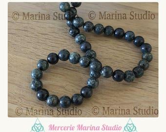 10 pearls Kambaba Jasper 6mm for jewelry creations, green beads - Green