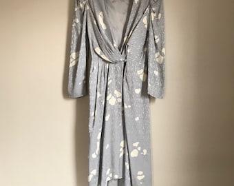 Pierre Cardin silver grey wrap vintage silk dress from the 80's