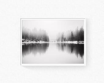 Forest print, landscape wall art, foggy forest, reflection forest, scandinavian wall art, forest photography, black and white forest, forest