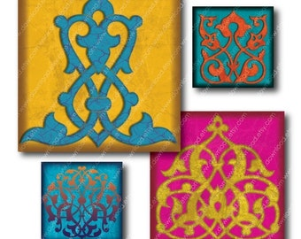Bright Ornaments, 1 Inch Square Tiles, Digital Collage Sheet, Download and Print Images