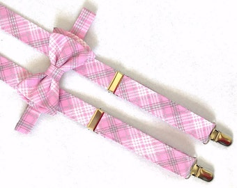 Pink, Gray and White Plaid Suspenders and Bow Tie Set with Optional Newsboy Cap for infants, toddlers and young children.