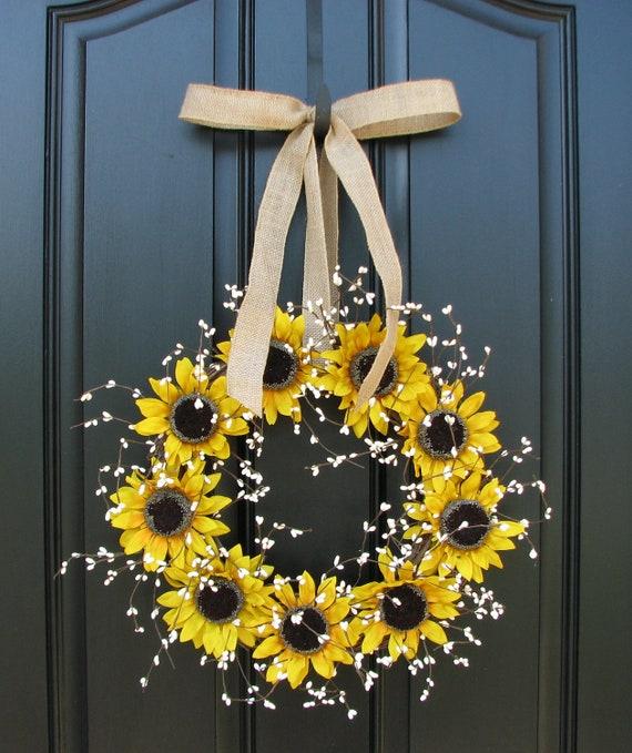 Country Front Door Decorations: Sunflower Wreaths Berry Wreath Fall Decor Front Door