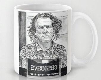 Nick Nolte Mugshot - Coffee Mug, Handmade Coffee Mug, Funny Coffee Mug, Funny Coffee Cup, Celebrity Art, Hand Drawn Mug