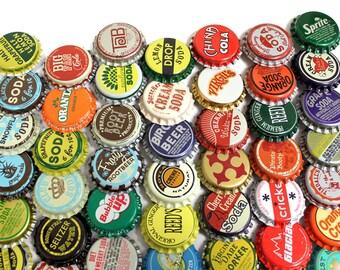 50 Vintage & Vintage Inspired Random Bottle Caps Collectible Craft Jewelry Coke Soda Bottlecaps