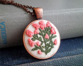 Floral Embroidery Necklace - Pink Hyacinth Wildflowers Embroidered Necklace - Mini Flowers Garden Art Fiber Diorama Bohemian Jewelry Gift