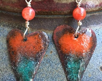 Blue Flame Heart earrings, red multicolor earrings ,  gift for her, hand forged torch fired enamel earrings
