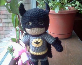Batman Inspired Super Hero Amigurumi - MADE to order-