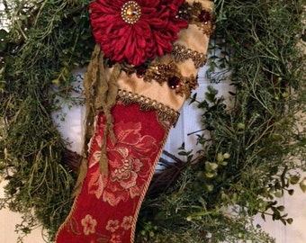 Victorian Christmas Stocking, Red Stocking, Christmas Decoration