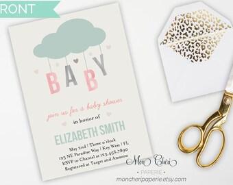 Cloud Baby Shower Invitation, Rain Shower Invitation, Hearts and Cloud Baby Shower Invitation