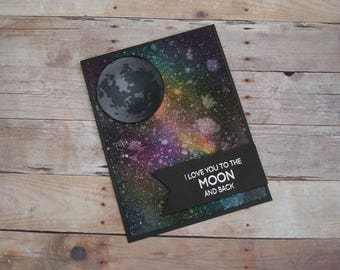 To The Moon Galaxy Card, Galaxy Sky, Love You To The Moon, Night Sky Card, Northern Lights Custom Card