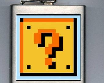 Super Mario Bros Question Mark Box Inspired Liquor Hip Flask