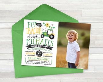 Tractor Birthday Invitation, Tractor Invite, Farmer Invitation, Digital Printable Invitation - Printable