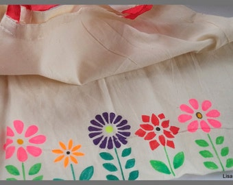 Floral painted canvas bag, Market grocery bag, Hand painted, Shoulder bag