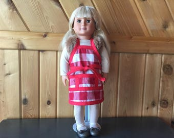 Red and White Checkered Doll Apron