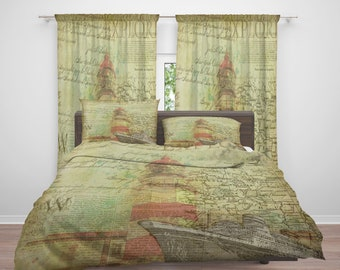 Vintage Nautical Design Comforter or  Duvet Cover, Twin  Full Queen King, , Rug, Curtains, Throw Pillow, Old Map, Lighthouse