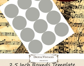 """2.5 inch Round Cupcake Topper Scapbooking  or Sticker Template 2.5"""" Cirlcle 8.5x11 sheet print size Digital Download Layered PSD PNG 300 DPI"""