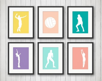 Volleyball Bedroom Decor, Volleyball Team Gifts, Girl Sports Decor,  Volleyball Print, Volleyball