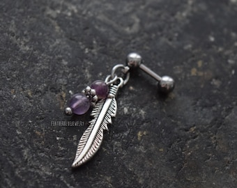 Feather & Amethyst - 18g , 16g , 14g (1mm , 1.2mm , 1.6mm) Cartilage Ear Stud Barbell Piercing Jewelry