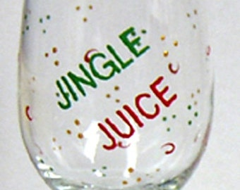 Wine Glass Christmas Hand Painted