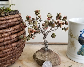 Unakite and Wire Tree on rock base