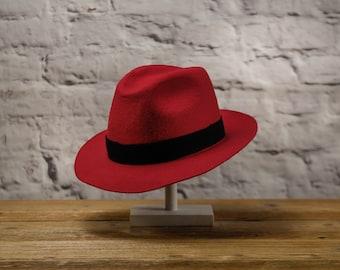 BOSSANOVA - Fedora Wide Brim Classic Hat, made of wool cloth - red / black