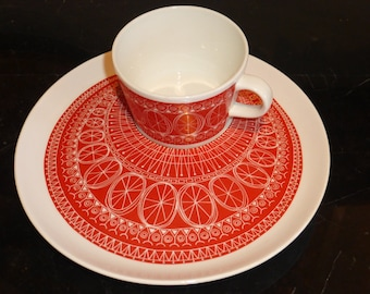 Arabia Finland by Kaj Franck Very Rare Luncheon Set of 2 Cups and Plates ARA39
