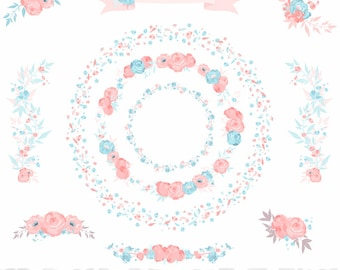 "Wedding Floral Peonies Wreaths Clipart Set Baby Blue, Pastel Pink  - ""PEONIES CLIPART"" - 11 images, 300 dpi. Png files. Instant Download"