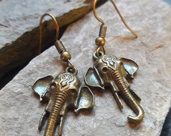 Vintage Gold Elephant Earrings