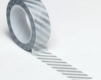 Silver Diagonal Stripe Washi Tape . 10 yards (1 roll)