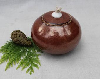 Ceramic Oil Lamp - Decorative Winter Light - Bronze-Red - Ready to Ship