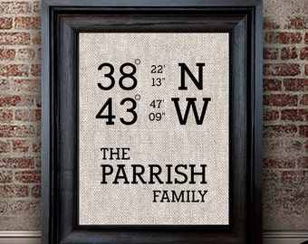 Latitude Longitude Print | Personalized Family Housewarming Gift | Cotton Print | Gift for Family | New Homeowner Gift