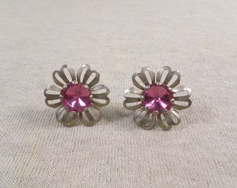Vintage Silver Tone Flower Screw Back Earrings With Prong Set Rhinestone DL# 4708