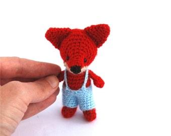 miniature fox stuffed woodland animal little amigurumi fox crocheted wee fox cuddle cute gift for children little doll red forest animal toy