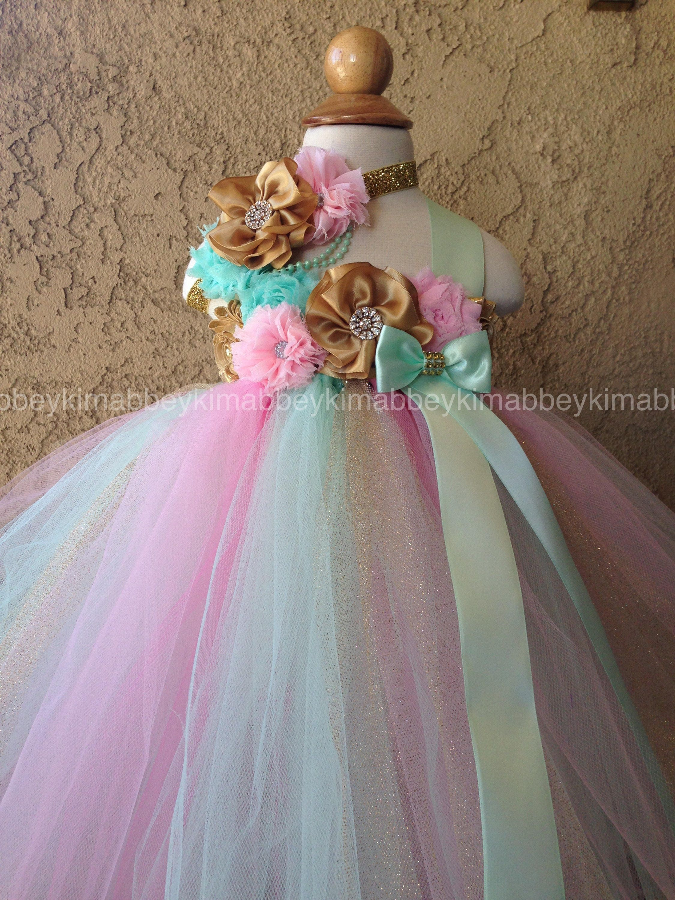 Beautiful baby girl first birthday tutu dress in pink mint