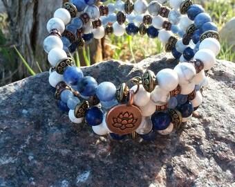 Lapis Lazuli, Aquamarine, Sodalite and Howlite Gemstone Wrap Bracelet