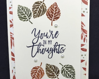 Sympathy card, In my thoughts card, autumn theme, rust brown and green