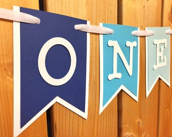 custom blue ombre ONE high chair banner, birthday banner, first birthday, highchair banner, one banner, 1st birthday, cake smash, i am one