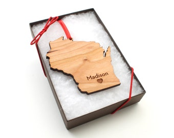 Personalized State Ornament - Pick Your State & City - Custom Engraved State Christmas Ornament