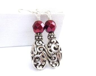 Silver Dangle Earrings - Filigree Oval Drops - Deep Burgundy Red Czech Glass Beads - Boho Jewelry - Free Shipping