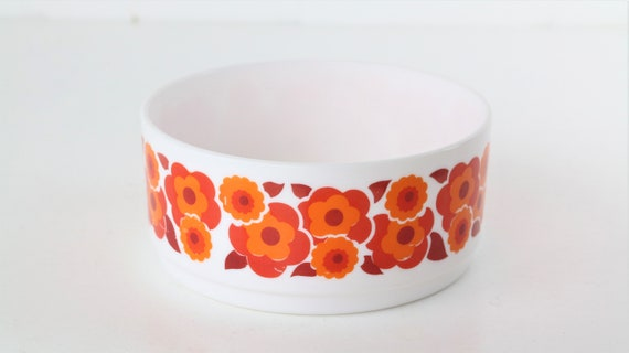Round Arcopal pot bowl with orange motif floral pattern retro Pril Flowers Midcentury 70 er years 70 s glass