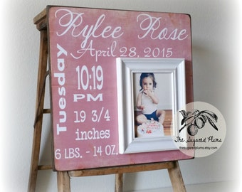 First Birthday Girl Gift, Birth Stats Picture Frame, Blush Pink and White, 16x16 Sugared Plums Frames
