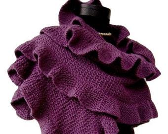 Deep Purple Shawl, Purple Bridal Wrap Wedding Shrug, Three Sides Ruffled Plum Shawl, Damson Handknit Shawl Bridesmaid Gift, EXPRESS Delivery