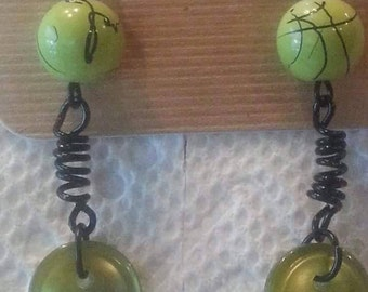 Lime spring earrings