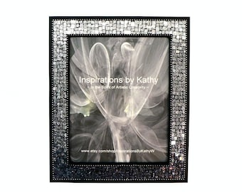 8x10 Picture Frame  - Mosaic Picture Frame - Black Ombre Frame - Silver Ombre Frame - Charcoal Gray Frame - Glitter Glass Picture Frame